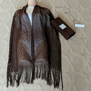 Brown Evening Bag & Lurex Shawl Wrap Scarf Formal